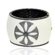 4.60ct Natural Pave Diamond 18kt Gold .925 Sterling Silver Enamel Bangle Jewelry