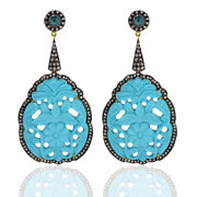 69.4ct Carved Turquoise Gold Diamond 925 Sterling Silver Dangle Earrings Jewelry