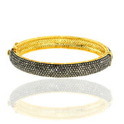 13.31ct Pave Diamond 14k Gold 925 Sterling Silver Vintage Look Bangle Jewelry