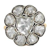 1.4ct Rose Cut Diamond 14kt Gold .925 Sterling Silver Floral Design Ring Jewelry
