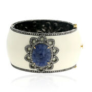 17.40 Ct Carved Sapphire Diamond Enamel Bangle 18kt Gold Sterling Silver Jewelry