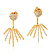 Memoral Day Sale 1.04ct Pave Diamond 18k Yellow Gold Ear Jacket Earrings Jewelry