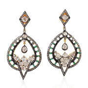 Natural Diamond And Emerald Dangle Earrings 18k Gold 925 Silver Jewelry For Her