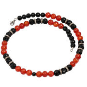 Sterling Silver Engraved Black Onyx Orange Agate Diamond Beaded Necklace Jewelry