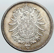1875 Germany King Wilhelm I And Wreath Vintage Antique Silver 1 Mark Coin I87577