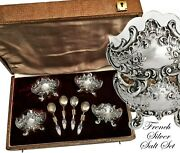 French Silver And Vermeil Salt Set - 4 Open Salt Cellars And 4 Spoons - Rococo Decor