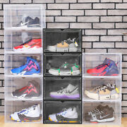 Magnetic Shoe Storage Box Drop Side/front Sneaker Cases Stackable Container L/xl
