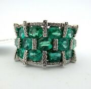 18kt Vintage Oval Emerald And Round Diamond Cluster Jewelry Ring 5.01ct