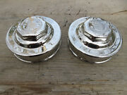 Antique 1920and039s Triple Chrome Plated Cadillac Standard Of The World Grease Caps
