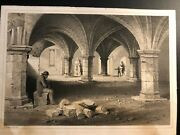 """Antique """"st.leonards Hospital,york Antique Engraving, Signed In The Plate 1848"""