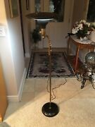 Vintage Atomic Saucer Floor Lamp With Tole Painting