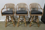 3 Vintage Mcguire Tall Swivel Counter Chairs Black Leather Seats