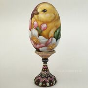 Collectible Wooden Easter Russian Souvenir Egg With Chicken And Apple Flowers