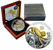 Niue 8 Dollars 2016 Silver Gold Plated Proof 5 Oz 'year Of The Monkey' Mtg.500