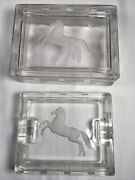 Vintage 1930's Carl Schmitz Verlys Glass Cigarette Box And Ashtray Signed French