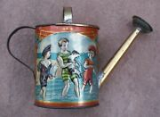 Antique Victorian German Embossed Tin Litho Colorful Miniature Toy Watering Can