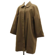 Long Sleeve Coat 97p Size 36 Brown Cotton France Authentic Ac194 Y
