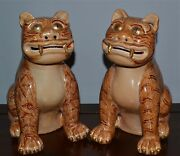 Rare Pair Old Chinese Porcelain Cats Tigers Marks