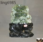 China Fengshui Natural Xiuyu Jade Hand-carved Lotus Money Bird Young Bird Statue