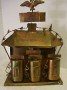 Vintage Brass Copper Metal Tin Music Box Gas Station Pumps Free Stamps Eagle