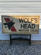 Large Wolf's Head Motor Oil Gas Station 48 Metal Sign