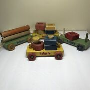 Vintage Wooden Holgate Pull Train Toy Incomplete Set With Cars And Blocks 1950s