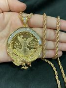 Gold Plate Menand039s Baguette Cz Eagle 50 Pesos Mexican Coin Centenario And Rope Chain