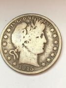 1915 Philadelphia Mint Silver Barber Half Dollar Rare Date See The Pictures