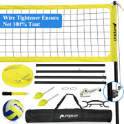 Portable Volleyball Tennis Net Set Nylon With Adjustable Poles For Outdoor Games