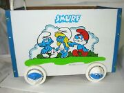 Vintage Smurf Toy Box/cart Storage Toy Keeper Plastic And Wood Push Handle 1982