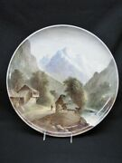 19th Century William Yale Copeland Pottery 16 Wall Charger Bernese Alps Mint