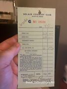 Sean Connery Signed Bel-air Country Club Receipt 1979