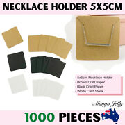 1000 Pcs Necklace Holders Display Tags Card Plain Brown Recycled Paper 5x5cm