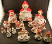 19 Piece Collection Vintage Hull Pottery Little Red Riding Hood