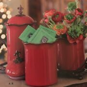 Medium Southern Living At Home Cinnabar Canister Red Fleur De Lis French Style