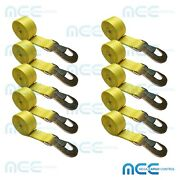 10 Pack 2 X 10and039 Heavy Duty Tie Down Strap With Flat Snap Hook For Tow Dolly