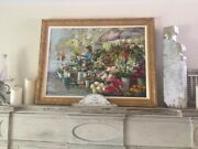 Spectacular Extra Large Signed Oil Painting Gold Guild Wooden Frame