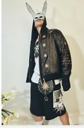 Fausto Puglisi Leather Bomber Msrp 3850 Euro