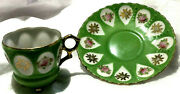 Antique Made In Occupied Japan Demitasse Footed Tea Cup And Saucer Set