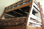 Classic Solid Pine Staircase Twin/full Bunk Bed With Roll Out Twin Trundle Bed I