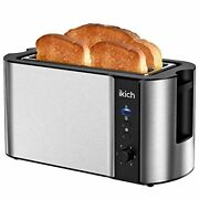 Ikich Toaster 2 Long Slot Toaster 4 Slice Stainless Steel Warming Rack 6 Brow