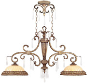 Livex Lighting 8882-65 Island Pendant With Crystal And Hand Crafted Gold Dusted