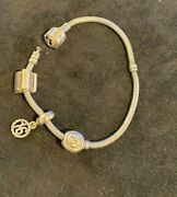Pandora Sterling Silver Bracelet With 3 Charms Free Shipping