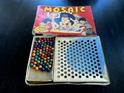Original Vintage Mosaic Marble Game Box With Pea-wee Painted Clay Marbles