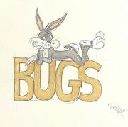 Signed Virgil Ross Animation Art Drawing Of Bugs Bunny