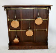French Brass And Pine Wall-mount Pot Rack W/copper Pots
