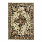 6and0391x9and039 Beige Hand Knotted Antiqued Heris Recreation Handspun Wool Rug G58990