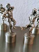 6 Antique Russian 84 Silver Bottle Stopper Musicians Dancers By Yegorovich