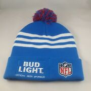 Nfl Bud Light Beer Pom-pom Beanie Hat Blue Off The Hook Bar And Grill One Size