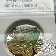 2015 Ngc Pf 70 Ultra 2 Cameo Money Frog Colorized 1 Oz Silver Proof Coin Niue
